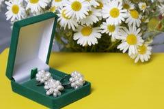 Открытая зеленая коробка бархата для ювелирных изделий В ем лежит комплект: кольцо и серьги с жемчугами Рядом с вазой букет chamo Стоковые Фото