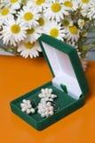 Открытая зеленая коробка бархата для ювелирных изделий В ем лежит комплект: кольцо и серьги с жемчугами Рядом с вазой букет chamo Стоковое Изображение