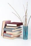 Открытая книга, стог, книги hardback красочные на деревянном столе, белой предпосылке задняя школа к Скопируйте космос для текста Стоковое Фото
