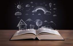 Открытая книга с ландшафтом нарисованным рукой Стоковые Изображения RF
