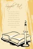 Открытая книга с стойкой свечки Стоковое Фото