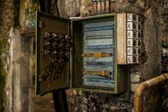 Открытая коробка взрывателя в руинах индустрии стоковые изображения rf