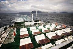 Открытая палуба на плавании парома в Фарерских островах Стоковая Фотография