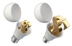 Открытая электрическая лампочка установленная с знаком доллара внутрь Conce успеха денег Стоковая Фотография