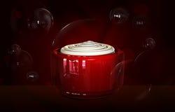 Открытая cream насмешка бутылки контейнера вверх по сливк косметической cream красоты шаблона стеклянной бутылки лицевой в иллюст Стоковые Изображения RF
