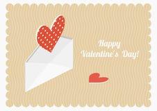Открытка вектора дня валентинки Равновеликие сердца и конверт Стоковая Фотография RF