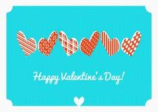 Открытка вектора дня валентинки Равновеликие сердца на голубой предпосылке Стоковые Фотографии RF
