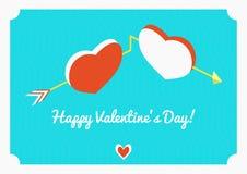 Открытка вектора дня валентинки Сердца на предпосылке сини стрелки Стоковые Фото
