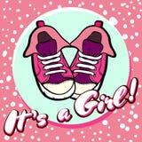 Открытка вектора поздравлениям детского душа девушки Объявление младенца в пинке Это девушка с ботинками детей в круге бесплатная иллюстрация