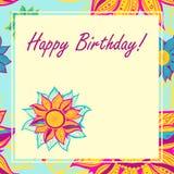 Открытка вектора с цветками день рождения счастливый Стоковое Изображение RF