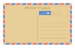 Открытка воздушной почты вектора старая Открытка Grunge бумажная винтажная Стоковое Изображение RF