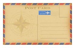 Открытка воздушной почты вектора старая с компасом Открытка Grunge бумажная винтажная Стоковые Изображения
