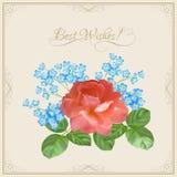 Открытка год сбора винограда с цветками & декоративной рамкой Стоковые Фотографии RF