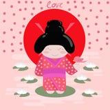 Открытка детей с японской гейшей в кимоно, в солнце Стоковые Изображения RF
