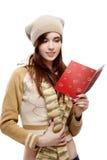Открытка женского witn красная изолированная на белизне стоковое фото rf
