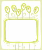 Открытка, зеленая граница, цветки, семена, ягоды, белая предпосылка Иллюстрация штока