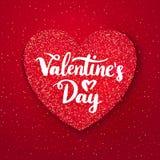 Открытка красного цвета яркого блеска дня валентинок Стоковое фото RF