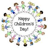 Открытка круга счастливого дня детей красочная рисуя Illlustration изолированное вектором иллюстрация штока