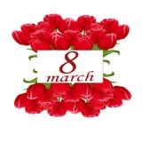 Открытка к 8-ое марта с букетами тюльпанов Стоковые Фото