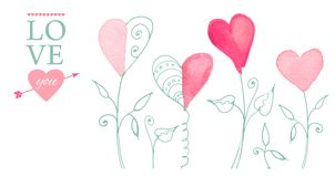 Открытка на день валентинки иллюстрация штока