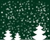 Открытка на счастливый Новый Год Ландшафт с елью и снежинками Белая ель на темной ой-зелен предпосылке также вектор иллюстрации п Стоковая Фотография