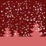 Открытка на счастливый Новый Год Ландшафт с елью и снежинками Розовая ель на темноте - красной предпосылке также вектор иллюстрац Стоковая Фотография