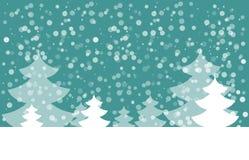 Открытка на счастливый Новый Год Ландшафт с елью с снежинками Белая ель на голубой предпосылке также вектор иллюстрации притяжки  Стоковые Фотографии RF