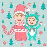 Открытка Нового Года и рождества семья счастливая иллюстрация штока