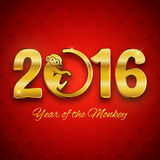 Открытка Нового Года с золотым текстом, годом обезьяны, дизайном года 2016 Стоковые Изображения