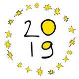 открытка 2019 Новых Годов бесплатная иллюстрация