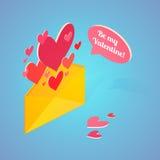 Открытка дня валентинки равновеликая также вектор иллюстрации притяжки corel Стоковые Изображения