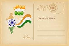 Открытка дня Индии в винтажном стиле также вектор иллюстрации притяжки corel Стоковое Изображение