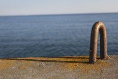 Открытка от гавани, моря во время захода солнца Стоковые Изображения RF