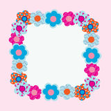 Открытка от цветков на розовой предпосылке иллюстрация штока