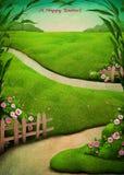 Открытка пасхи весны иллюстрация штока