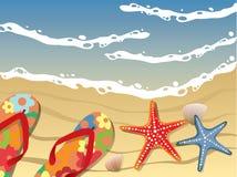 открытка пляжа бесплатная иллюстрация