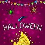 Открытка, плакат на хеллоуин Волшебство праздника, пауки, черви, сети паука Флаги для украшения декоративные элементы Стоковое Фото