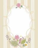 Открытка, рамка, беж, песок, striped, овальный с цветками Иллюстрация штока