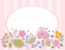 Открытка, рамка, пинк, striped с цветками Иллюстрация штока