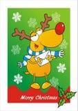 Открытка рождества, северный олень и конверт, смешная иллюстрация Стоковая Фотография
