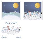 открытка рождества 3D Снеговики рождества Стоковое Изображение