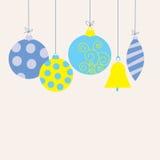 Открытка с игрушками рождества иллюстрация штока