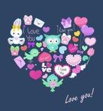 Открытка с милой формой сердца животных на день валентинки, день рождения, поздравления Стоковые Изображения RF