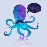 Открытка с милым осьминогом Стоковое Фото