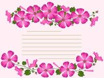 Открытка с розовыми цветками, бутонами и листьями Стоковые Изображения