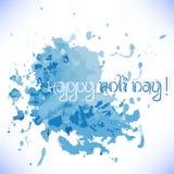 Открытка с хаотической голубой акварелью брызгает и закрывает Фестиваль цветов Holi иллюстрация вектора