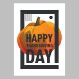 Открытка тыквы счастливого официальный праздник в США в память первых колонистов Массачусетса оранжевая Праздник осени Стоковая Фотография RF