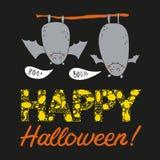 Открытка хеллоуина вектора нарисованная рукой с 2 летучими мышами Стоковые Фотографии RF