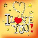 Открытка я тебя люблю! в векторе EPS 10 Стоковая Фотография RF