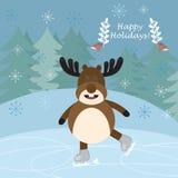 Открытка hristmas ¡ Ð с смешной кататься на коньках оленей Стоковое фото RF